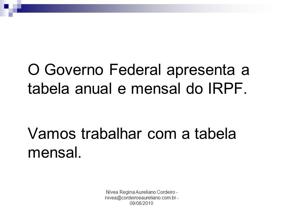 Nívea Regina Aureliano Cordeiro - nivea@cordeiroeaureliano.com.br - 09/08/2010 O Governo Federal apresenta a tabela anual e mensal do IRPF. Vamos trab
