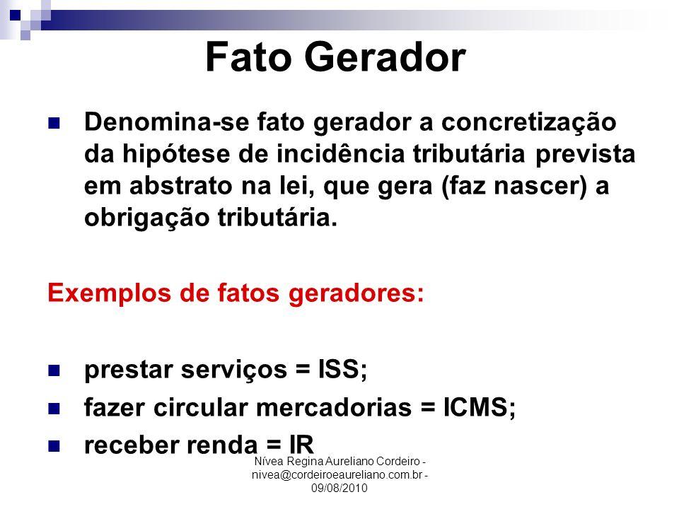 Nívea Regina Aureliano Cordeiro - nivea@cordeiroeaureliano.com.br - 09/08/2010 Fato Gerador Denomina-se fato gerador a concretização da hipótese de in