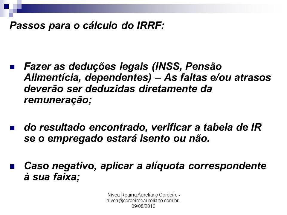 Passos para o cálculo do IRRF: Fazer as deduções legais (INSS, Pensão Alimentícia, dependentes) – As faltas e/ou atrasos deverão ser deduzidas diretam