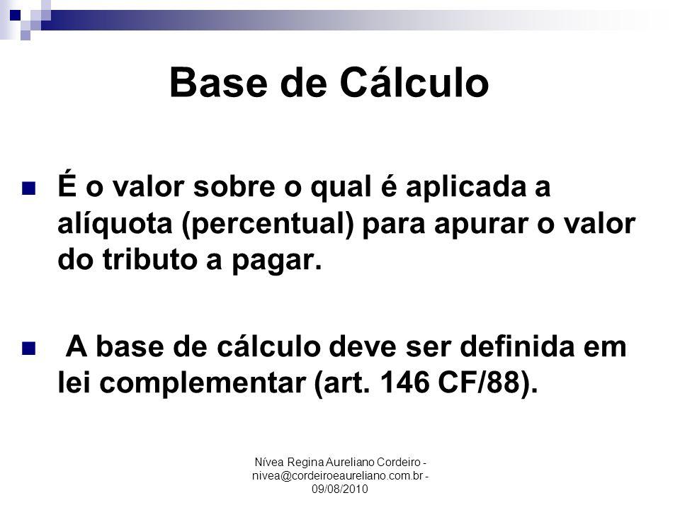 Nívea Regina Aureliano Cordeiro - nivea@cordeiroeaureliano.com.br - 09/08/2010 Base de Cálculo É o valor sobre o qual é aplicada a alíquota (percentua