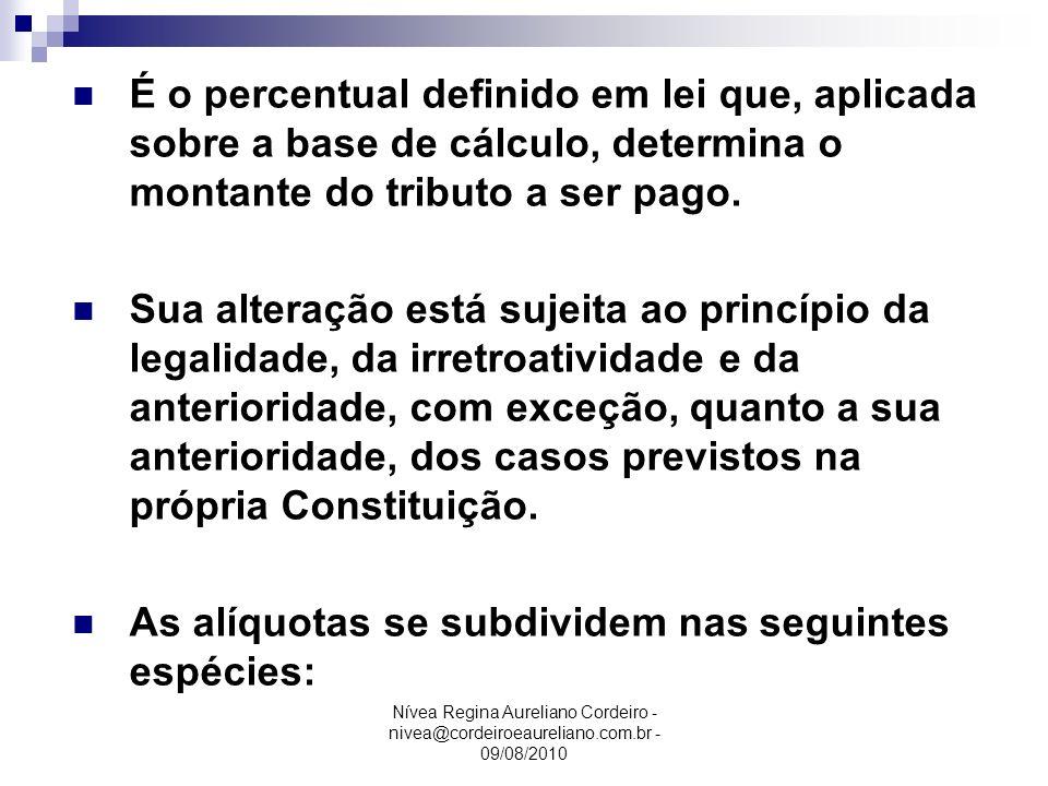 Nívea Regina Aureliano Cordeiro - nivea@cordeiroeaureliano.com.br - 09/08/2010 Alíquota É o percentual definido em lei que, aplicada sobre a base de c
