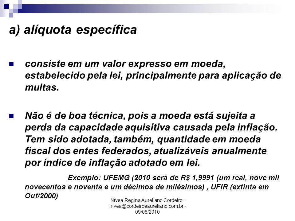 Nívea Regina Aureliano Cordeiro - nivea@cordeiroeaureliano.com.br - 09/08/2010 a) alíquota específica consiste em um valor expresso em moeda, estabele