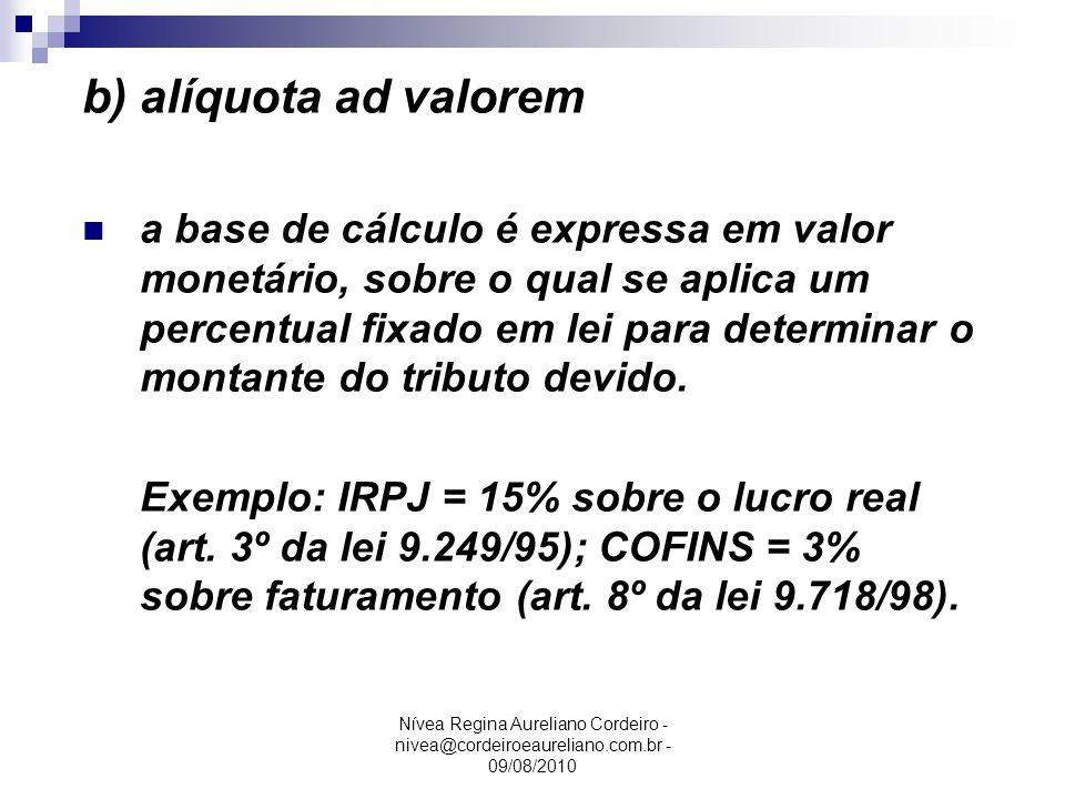 Nívea Regina Aureliano Cordeiro - nivea@cordeiroeaureliano.com.br - 09/08/2010 b) alíquota ad valorem a base de cálculo é expressa em valor monetário,