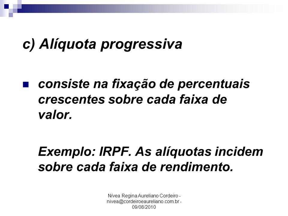 Nívea Regina Aureliano Cordeiro - nivea@cordeiroeaureliano.com.br - 09/08/2010 c) Alíquota progressiva consiste na fixação de percentuais crescentes s