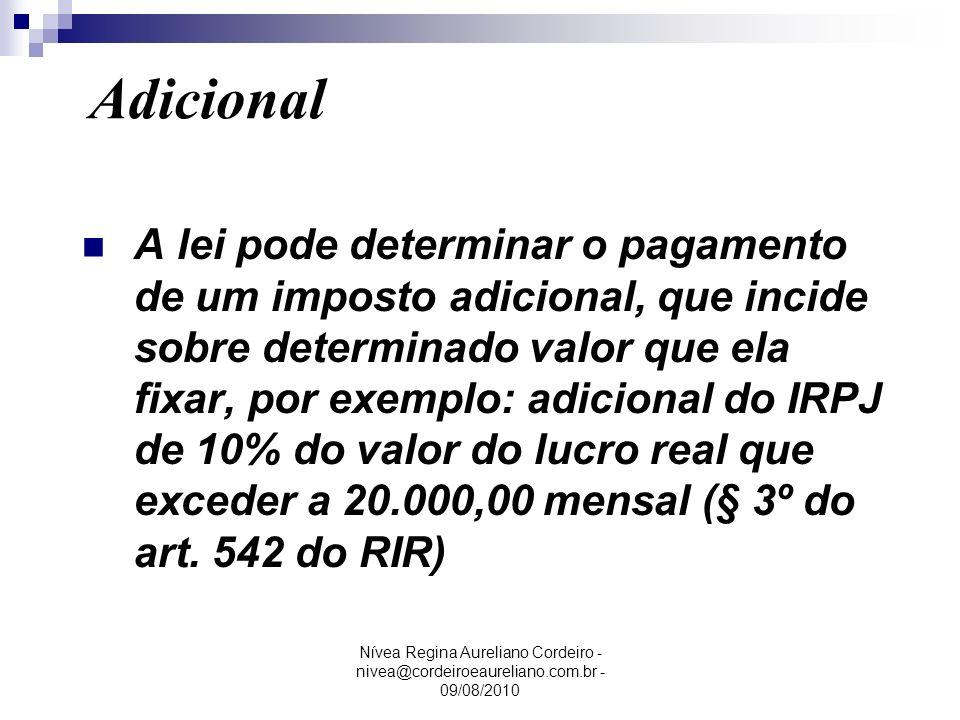 Nívea Regina Aureliano Cordeiro - nivea@cordeiroeaureliano.com.br - 09/08/2010 A lei pode determinar o pagamento de um imposto adicional, que incide s