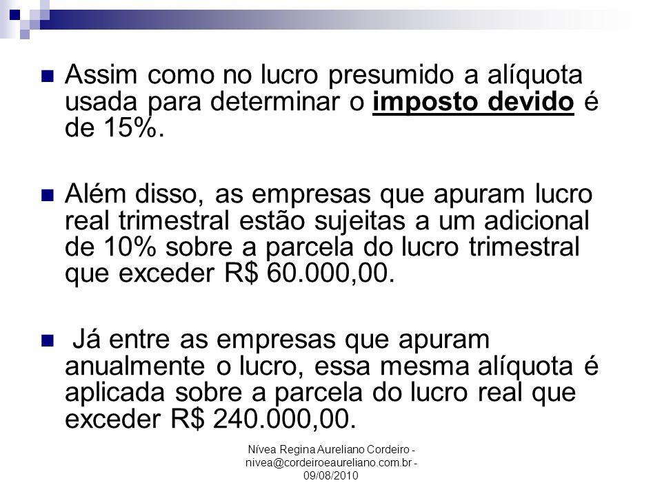 Nívea Regina Aureliano Cordeiro - nivea@cordeiroeaureliano.com.br - 09/08/2010 Assim como no lucro presumido a alíquota usada para determinar o impost