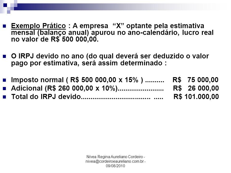 Nívea Regina Aureliano Cordeiro - nivea@cordeiroeaureliano.com.br - 09/08/2010 Exemplo Prático : A empresa X optante pela estimativa mensal (balanço a