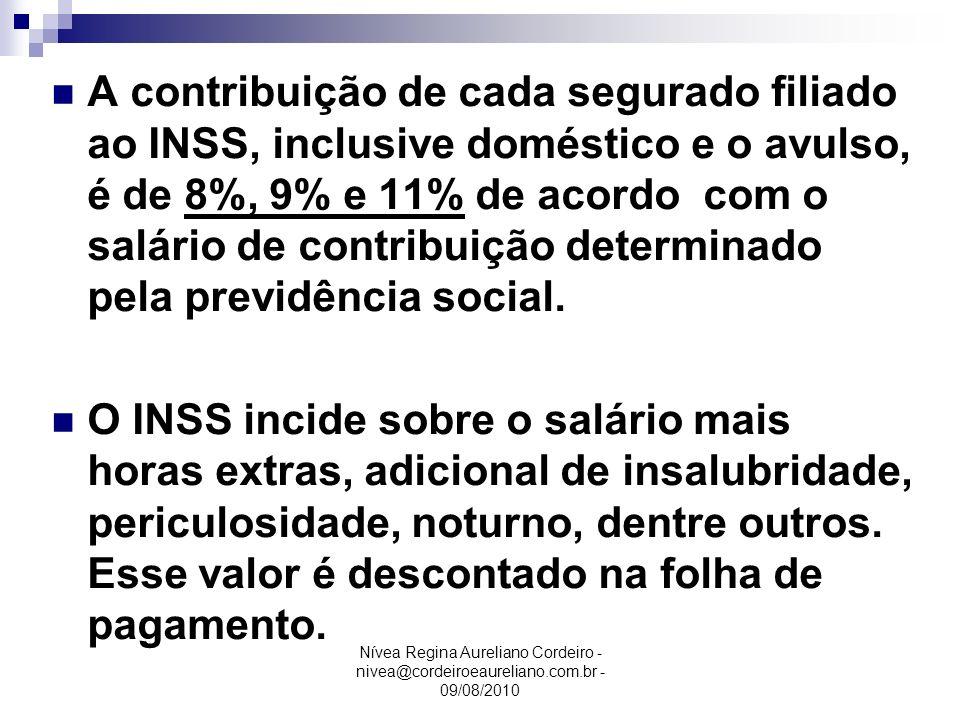 Nívea Regina Aureliano Cordeiro - nivea@cordeiroeaureliano.com.br - 09/08/2010 A contribuição de cada segurado filiado ao INSS, inclusive doméstico e