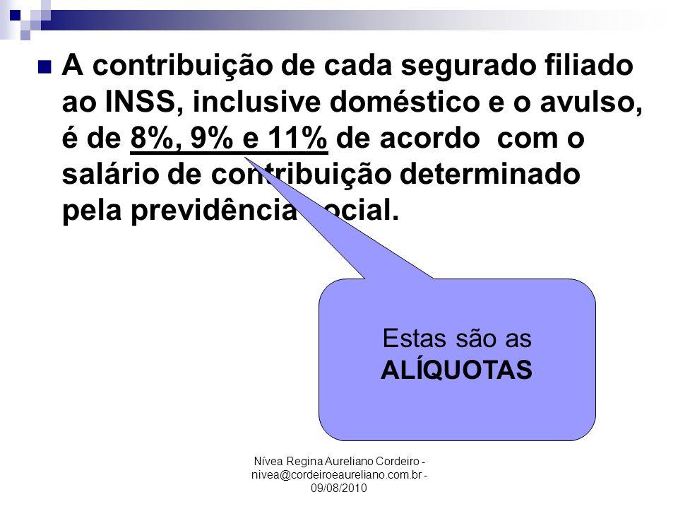 Nívea Regina Aureliano Cordeiro - nivea@cordeiroeaureliano.com.br - 09/08/2010 Exemplo: Salário …………..R$ 2.500,00 Adic.