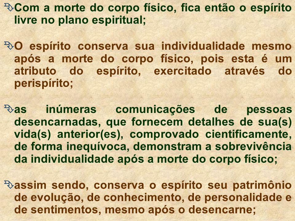 Com a morte do corpo físico, fica então o espírito livre no plano espiritual; O espírito conserva sua individualidade mesmo após a morte do corpo físico, pois esta é um atributo do espírito, exercitado através do perispírito; as inúmeras comunicações de pessoas desencarnadas, que fornecem detalhes de sua(s) vida(s) anterior(es), comprovado cientificamente, de forma inequívoca, demonstram a sobrevivência da individualidade após a morte do corpo físico; assim sendo, conserva o espírito seu patrimônio de evolução, de conhecimento, de personalidade e de sentimentos, mesmo após o desencarne;