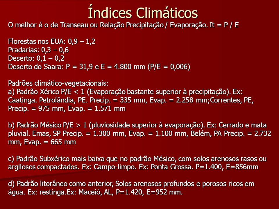 Índices Climáticos O melhor é o de Transeau ou Relação Precipitação / Evaporação. It = P / E Florestas nos EUA: 0,9 – 1,2 Pradarias: 0,3 – 0,6 Deserto