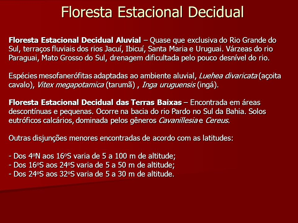 Floresta Estacional Decidual Floresta Estacional Decidual Aluvial – Quase que exclusiva do Rio Grande do Sul, terraços fluviais dos rios Jacuí, Ibicuí