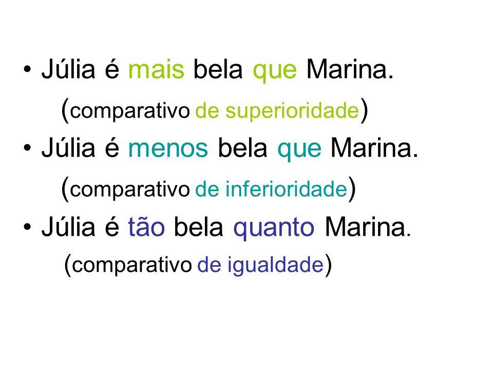 Júlia é mais bela que Marina. ( comparativo de superioridade ) Júlia é menos bela que Marina. ( comparativo de inferioridade ) Júlia é tão bela quanto