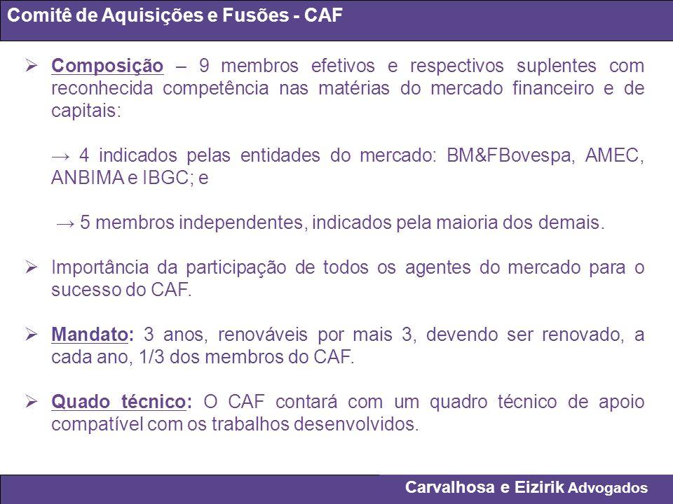 Carvalhosa e Eizirik Advogados Comitê de Aquisições e Fusões - CAF Composição – 9 membros efetivos e respectivos suplentes com reconhecida competência