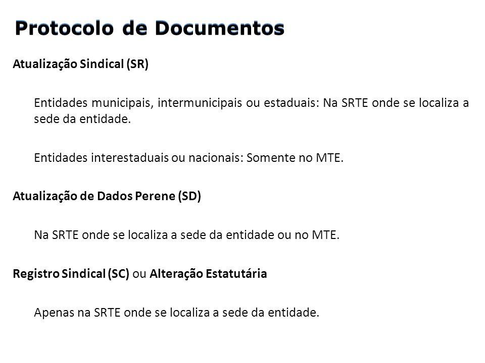 Atualização Sindical (SR) Entidades municipais, intermunicipais ou estaduais: Na SRTE onde se localiza a sede da entidade. Entidades interestaduais ou