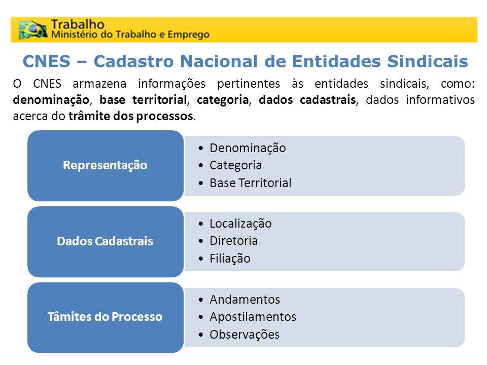 O CNES armazena informações pertinentes às entidades sindicais, como: denominação, base territorial, categoria, dados cadastrais, dados informativos a