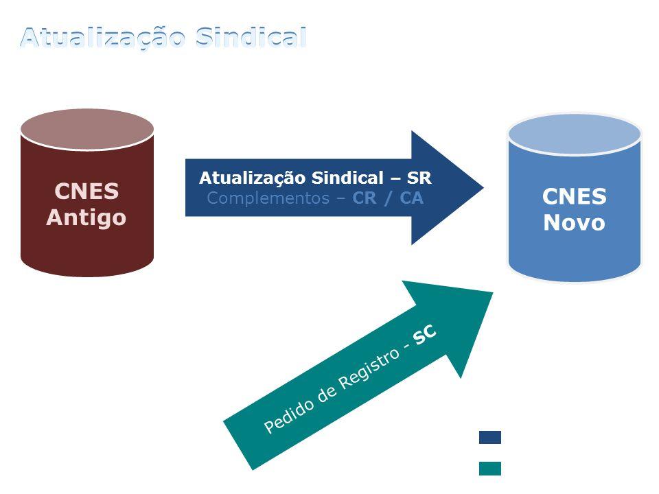 CNES Antigo CNES Novo Atualização Sindical – SR Complementos – CR / CA Pedido de Registro - SC Recadastramentos Novo Pedido Atualização Sindical