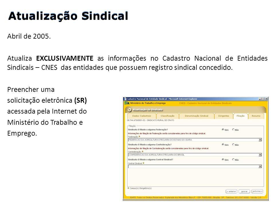 Abril de 2005. Atualiza EXCLUSIVAMENTE as informações no Cadastro Nacional de Entidades Sindicais – CNES das entidades que possuem registro sindical c