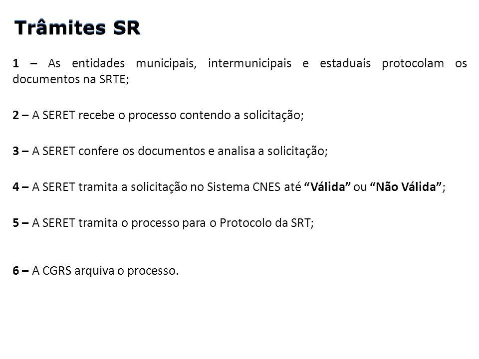Trâmites SR 1 – As entidades municipais, intermunicipais e estaduais protocolam os documentos na SRTE; 2 – A SERET recebe o processo contendo a solici