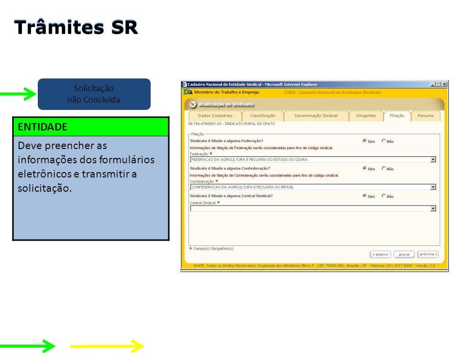 Solicitação não Concluída ENTIDADE Deve preencher as informações dos formulários eletrônicos e transmitir a solicitação. Entidade Chefe SERET Analista