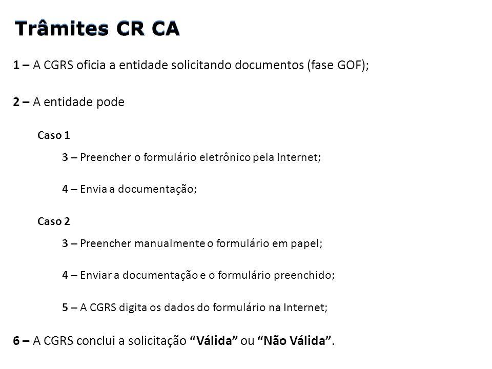 1 – A CGRS oficia a entidade solicitando documentos (fase GOF); 2 – A entidade pode Caso 1 3 – Preencher o formulário eletrônico pela Internet; 4 – En