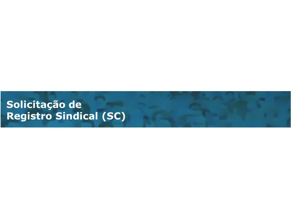Solicitação de Registro Sindical (SC)