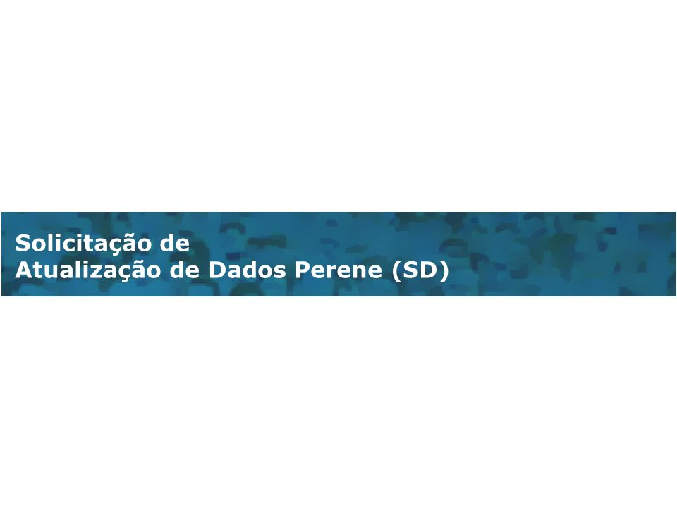 Solicitação de Atualização de Dados Perene (SD)