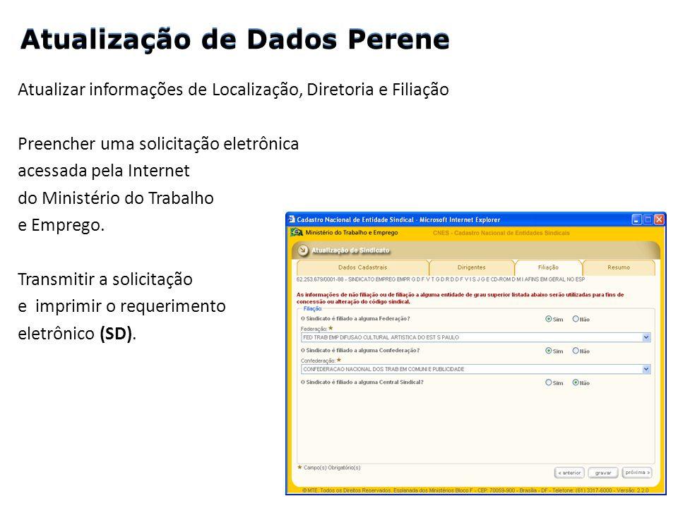 Atualizar informações de Localização, Diretoria e Filiação Preencher uma solicitação eletrônica acessada pela Internet do Ministério do Trabalho e Emp