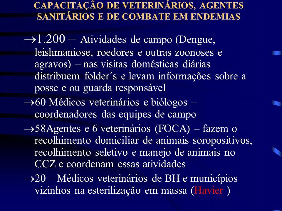 CAPACITAÇÃO DE VETERINÁRIOS, AGENTES SANITÁRIOS E DE COMBATE EM ENDEMIAS 1.200 – Atividades de campo (Dengue, leishmaniose, roedores e outras zoonoses