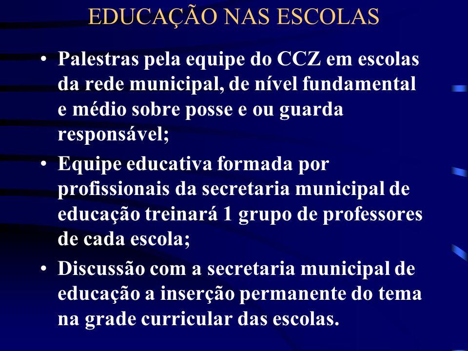 EDUCAÇÃO NAS ESCOLAS Palestras pela equipe do CCZ em escolas da rede municipal, de nível fundamental e médio sobre posse e ou guarda responsável; Equi