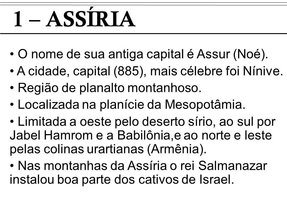 1 – ASSÍRIA O nome de sua antiga capital é Assur (Noé). A cidade, capital (885), mais célebre foi Nínive. Região de planalto montanhoso. Localizada na