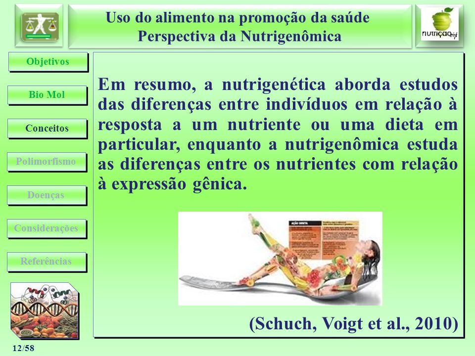 Uso do alimento na promoção da saúde Perspectiva da Nutrigenômica Uso do alimento na promoção da saúde Perspectiva da Nutrigenômica 12/58 Em resumo, a