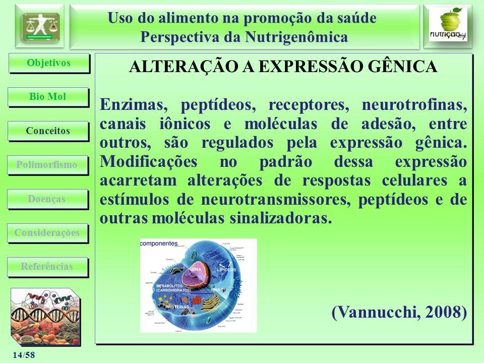 Uso do alimento na promoção da saúde Perspectiva da Nutrigenômica Uso do alimento na promoção da saúde Perspectiva da Nutrigenômica 14/58 ALTERAÇÃO A