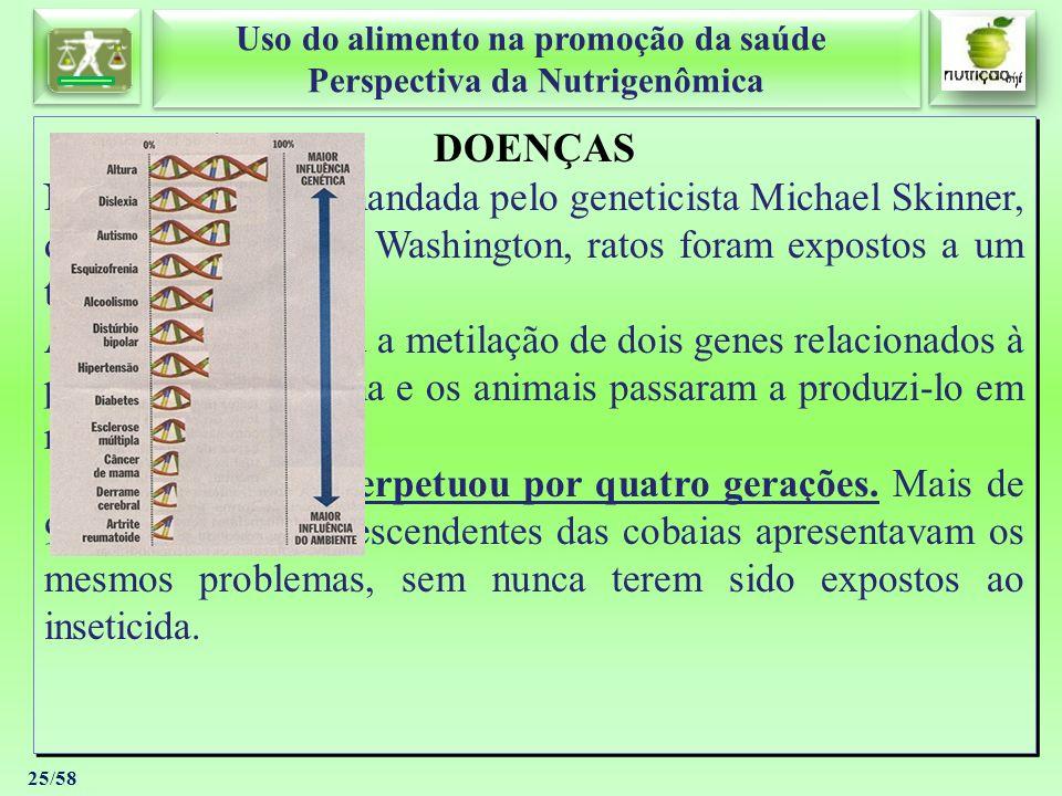 Uso do alimento na promoção da saúde Perspectiva da Nutrigenômica Uso do alimento na promoção da saúde Perspectiva da Nutrigenômica 25/58 DOENÇAS Numa