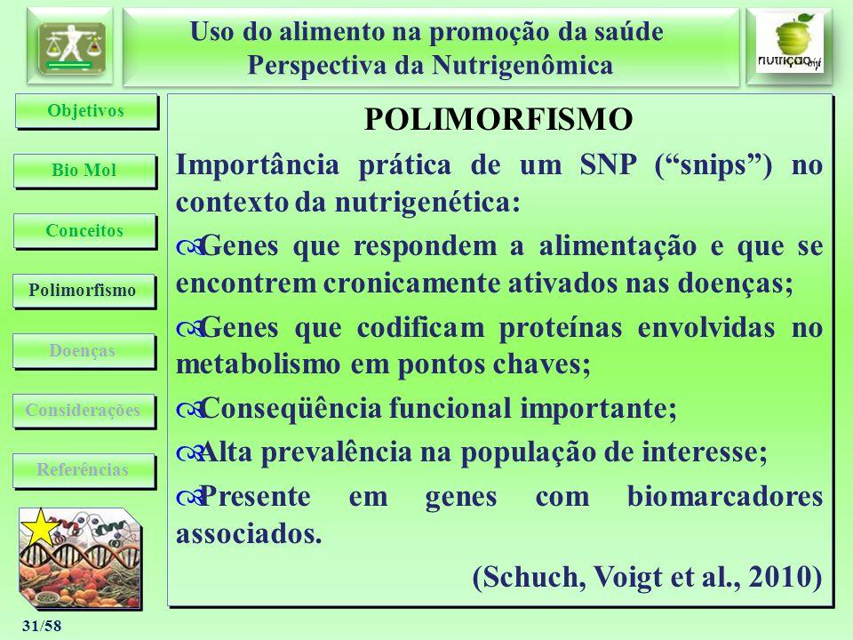 Uso do alimento na promoção da saúde Perspectiva da Nutrigenômica Uso do alimento na promoção da saúde Perspectiva da Nutrigenômica 31/58 POLIMORFISMO
