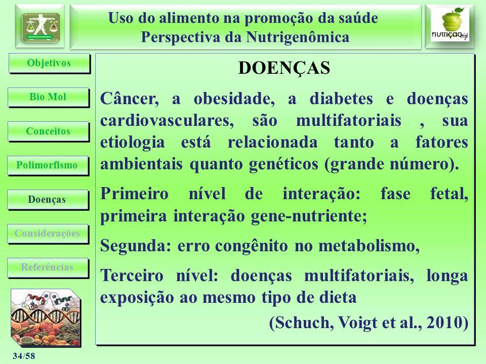 Uso do alimento na promoção da saúde Perspectiva da Nutrigenômica Uso do alimento na promoção da saúde Perspectiva da Nutrigenômica 34/58 DOENÇAS Cânc