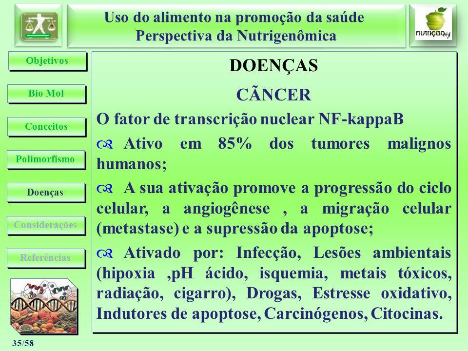 Uso do alimento na promoção da saúde Perspectiva da Nutrigenômica Uso do alimento na promoção da saúde Perspectiva da Nutrigenômica 35/58 DOENÇAS CÃNC