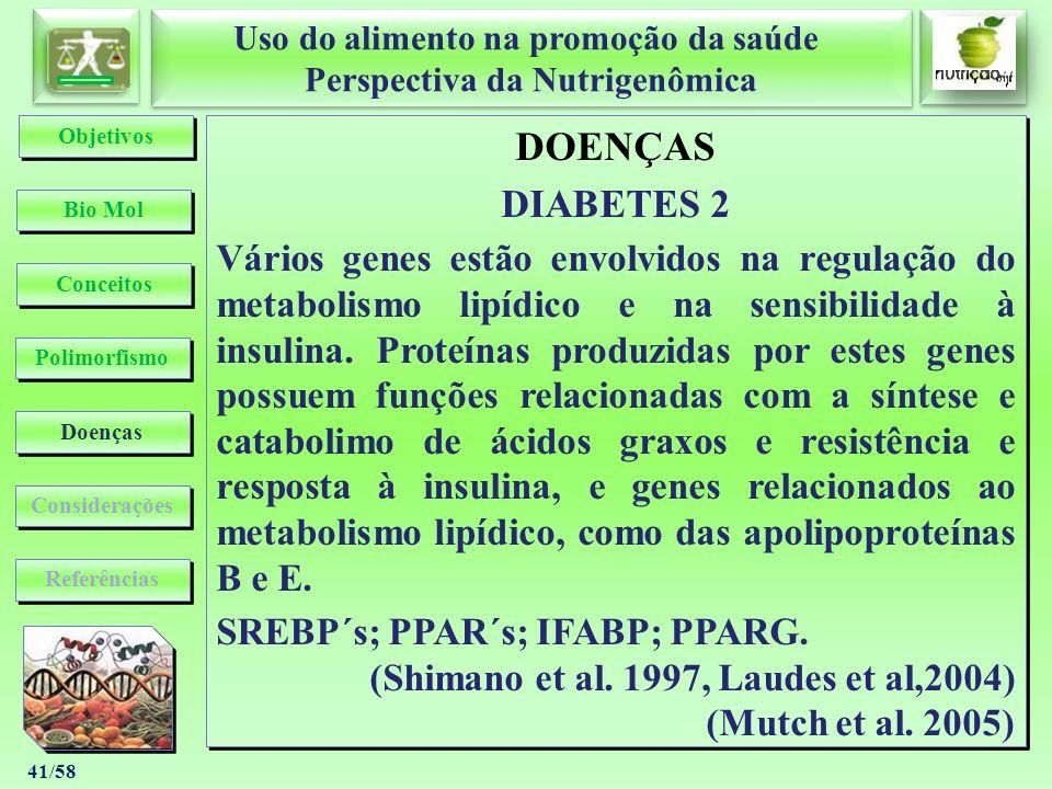 Uso do alimento na promoção da saúde Perspectiva da Nutrigenômica Uso do alimento na promoção da saúde Perspectiva da Nutrigenômica 41/58 DOENÇAS DIAB