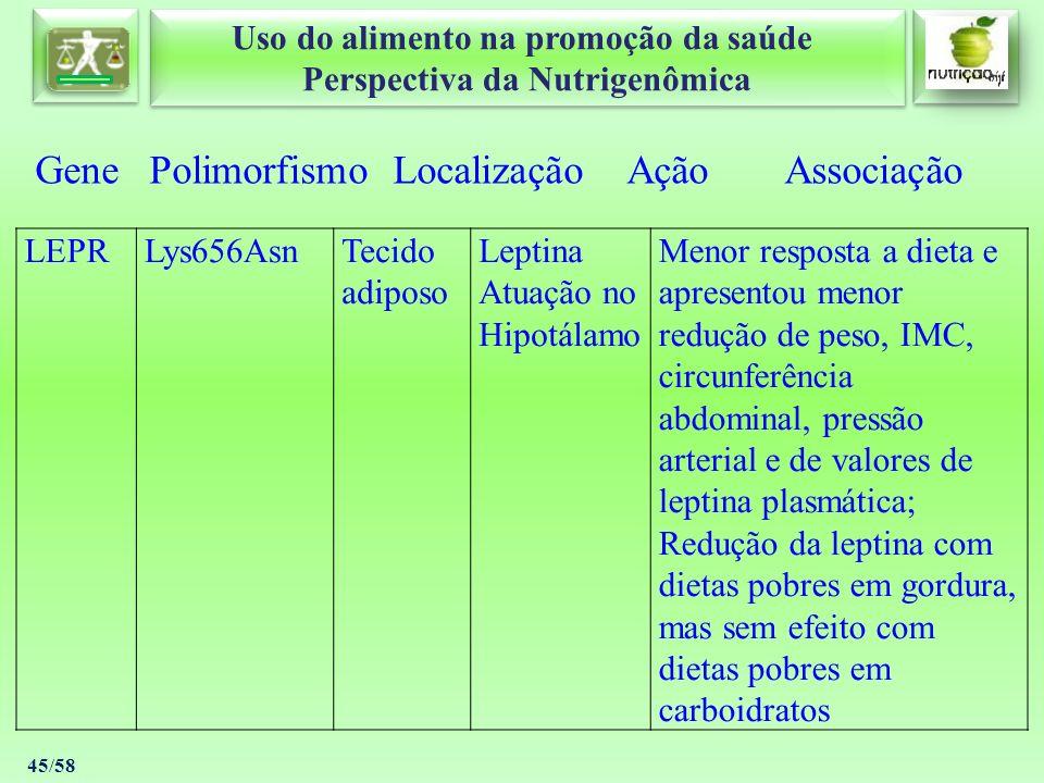 Uso do alimento na promoção da saúde Perspectiva da Nutrigenômica Uso do alimento na promoção da saúde Perspectiva da Nutrigenômica 45/58 Gene Polimor