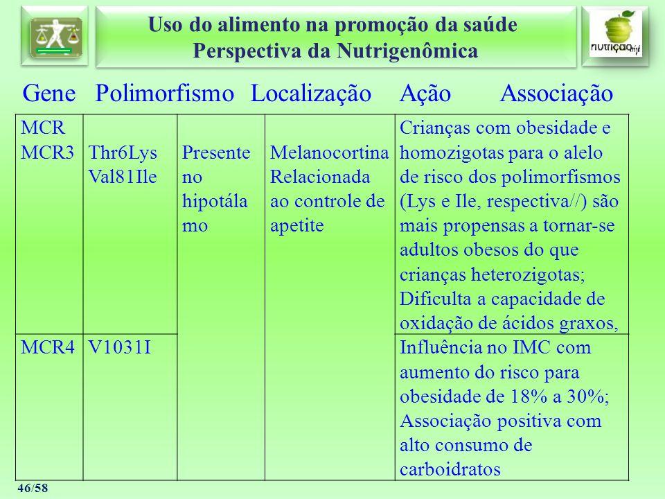 Uso do alimento na promoção da saúde Perspectiva da Nutrigenômica Uso do alimento na promoção da saúde Perspectiva da Nutrigenômica 46/58 Gene Polimor