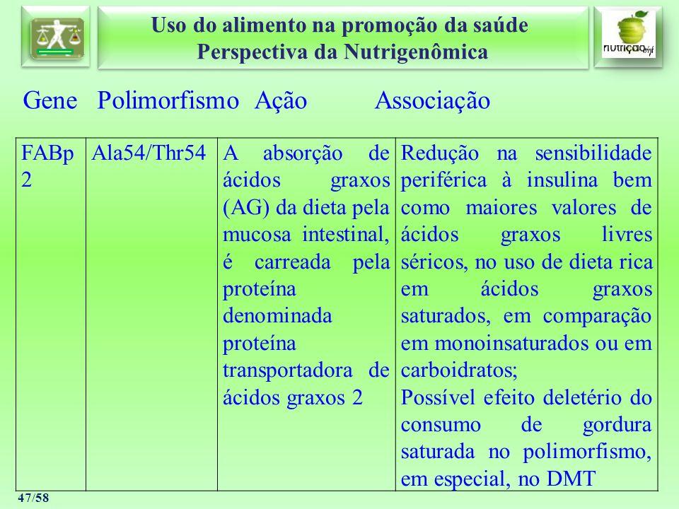 Uso do alimento na promoção da saúde Perspectiva da Nutrigenômica Uso do alimento na promoção da saúde Perspectiva da Nutrigenômica 47/58 Gene Polimor