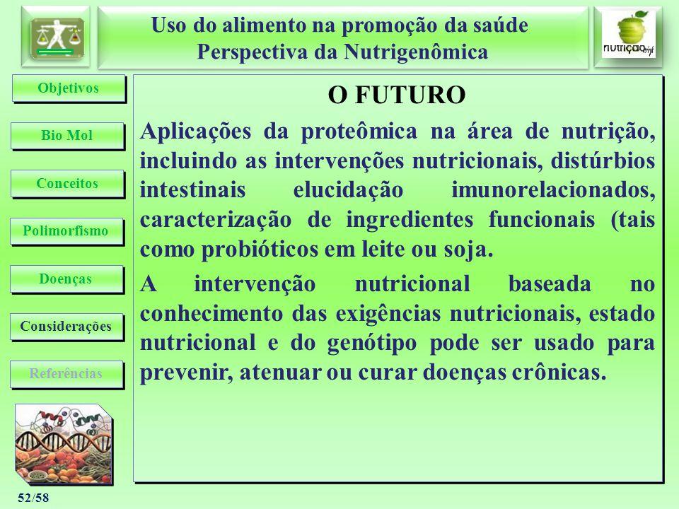 Uso do alimento na promoção da saúde Perspectiva da Nutrigenômica Uso do alimento na promoção da saúde Perspectiva da Nutrigenômica 52/58 O FUTURO Apl