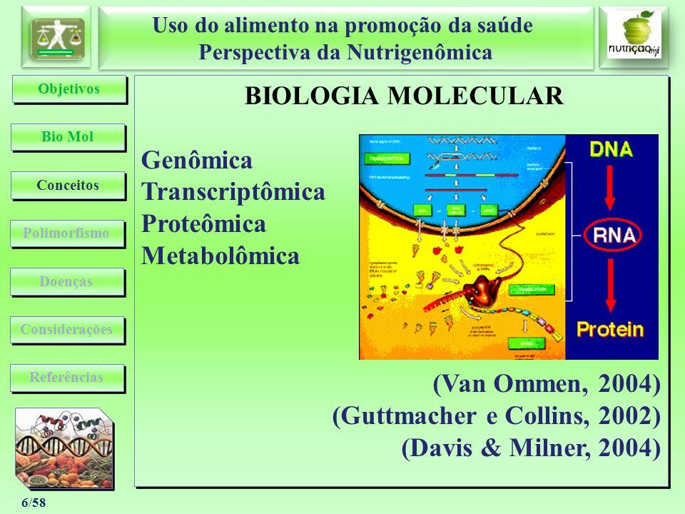 Uso do alimento na promoção da saúde Perspectiva da Nutrigenômica Uso do alimento na promoção da saúde Perspectiva da Nutrigenômica 6/58 BIOLOGIA MOLE