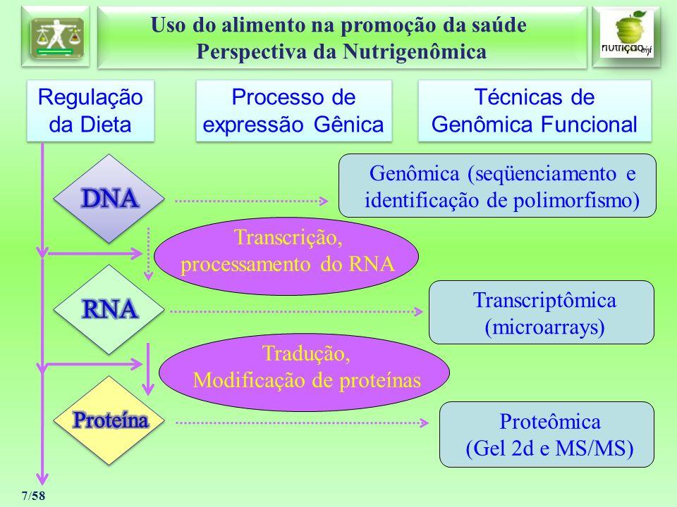 Uso do alimento na promoção da saúde Perspectiva da Nutrigenômica Uso do alimento na promoção da saúde Perspectiva da Nutrigenômica 38/58 DOENÇAS CÃNCER Atualmente, pode-se afirmar que compostos bioativos da dieta como a curcumina, a genisteína, o resveratrol, o ácido ursólico, o licopeno, a capsaisina, a silimarina, as catequinas, as isoavonas, o indol-3-carbinol, as saponinas, os toesteróis, a luteína, a vitamina C, o folato, o beta caroteno, a vitamina E, os flavonoides, o selênio e as fibras dietéticas atuam como agentes protetores contra o câncer.