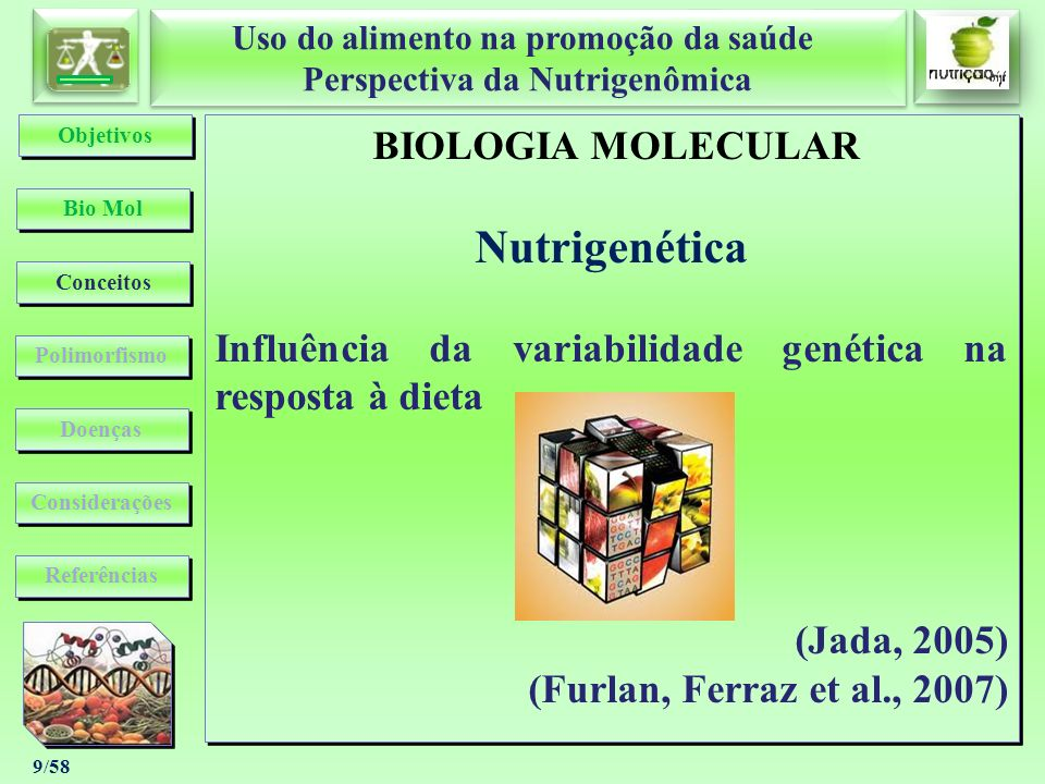 Uso do alimento na promoção da saúde Perspectiva da Nutrigenômica Uso do alimento na promoção da saúde Perspectiva da Nutrigenômica 50/58 ÉTICA Aspectos Bioéticos da Nutrigenômica ÉTICA Aspectos Bioéticos da Nutrigenômica Bio Mol Conceitos Considerações Objetivos Polimorfismo Doenças Referências