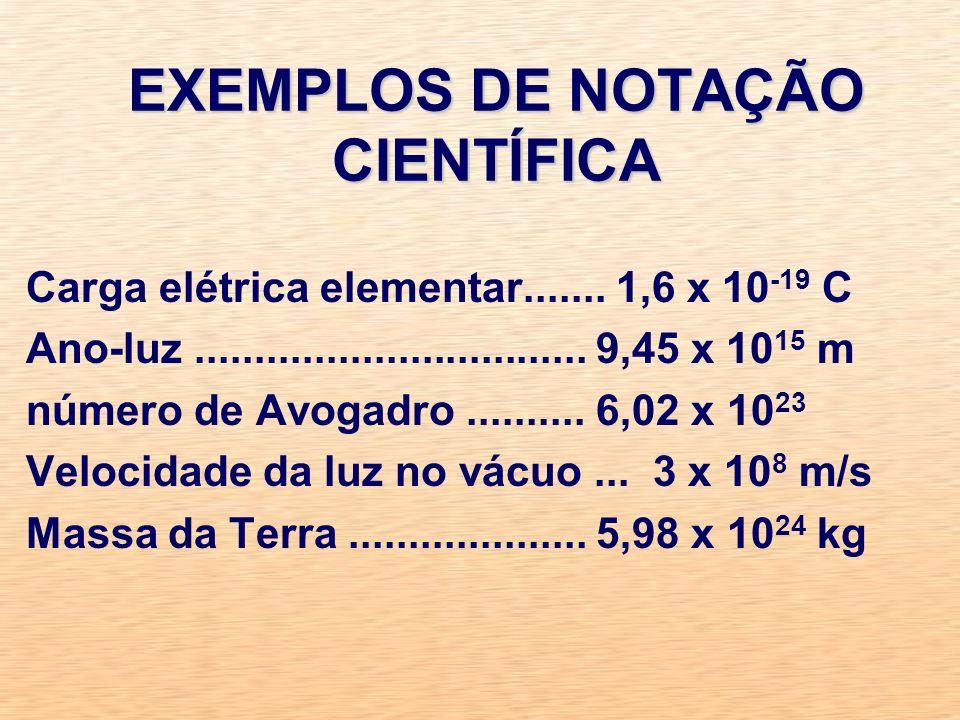 EXEMPLOS DE NOTAÇÃO CIENTÍFICA Carga elétrica elementar.......