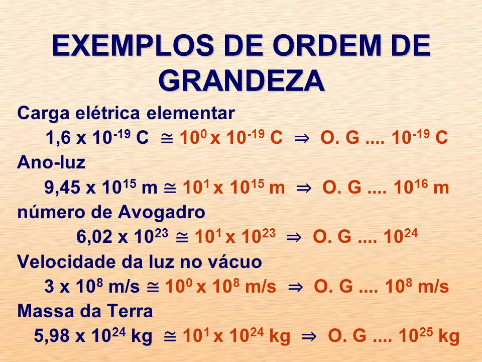 EXEMPLOS DE ORDEM DE GRANDEZA Carga elétrica elementar 1,6 x 10 -19 C 10 0 x 10 -19 C O.