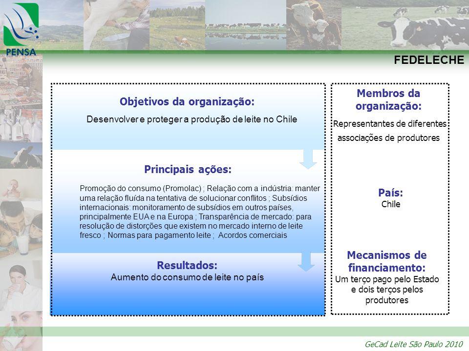 GeCad Leite São Paulo 2010 Resultados: Aumento do consumo de leite no país Principais ações: Promoção do consumo (Promolac) ; Relação com a indústria: