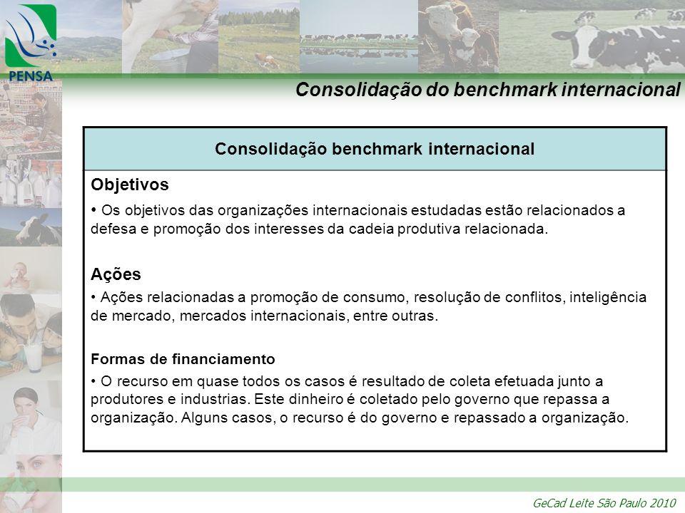 GeCad Leite São Paulo 2010 Consolidação do benchmark internacional Consolidação benchmark internacional Objetivos Os objetivos das organizações intern