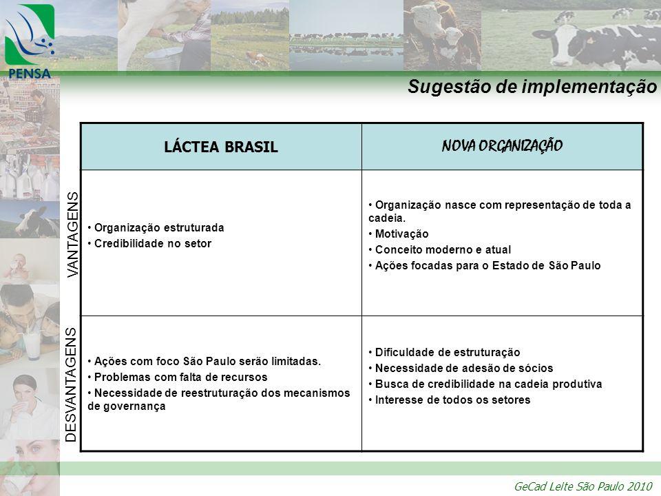 GeCad Leite São Paulo 2010 Sugestão de implementação LÁCTEA BRASIL NOVA ORGANIZAÇÃO Organização estruturada Credibilidade no setor Organização nasce c